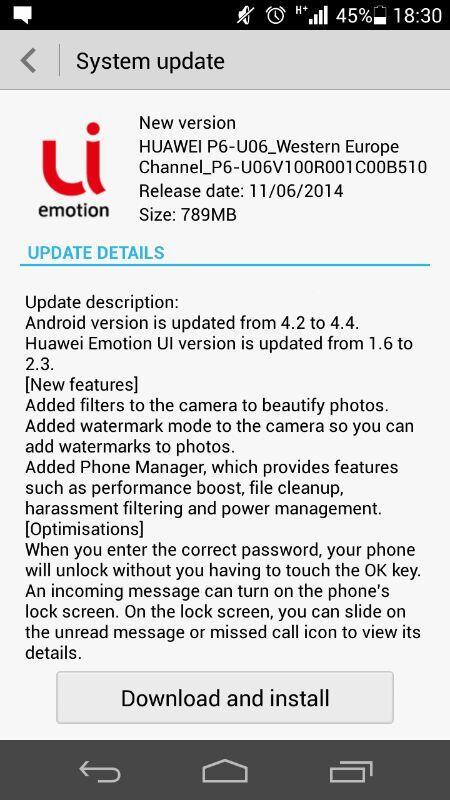 Aggiornamento Android KitKat per Huawei Ascend P6