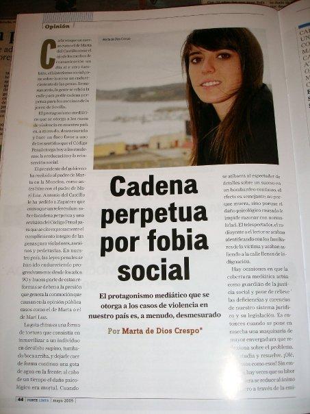Cadena perpetua por fobia social, 2009
