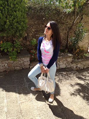 OUTFIT MY T-SHIRT-STRADIVARIUS JEANS, BORSA ROCCOBAROCCO