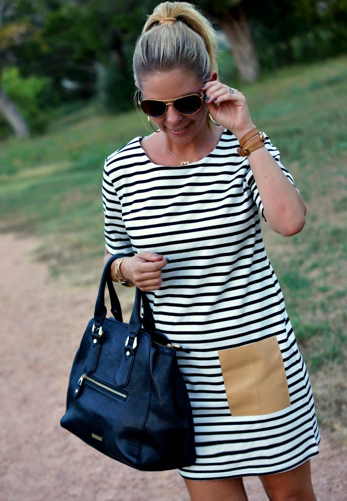 stripe tunic dress with leather front pockets