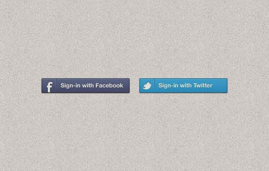 Facebook & Twitter Sign-in Buttons