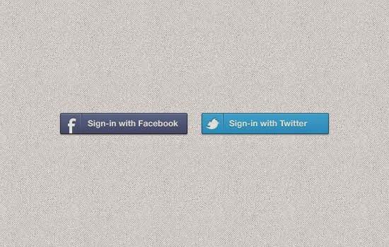 Facebook & Twitter Buttons PSD