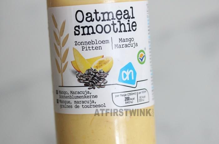 Albert Heijn (AH) oatmeal smoothie zonnebloem pitten, mango en maracuja