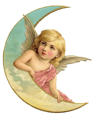 vintage Christmas image Angel on Crescent Moon