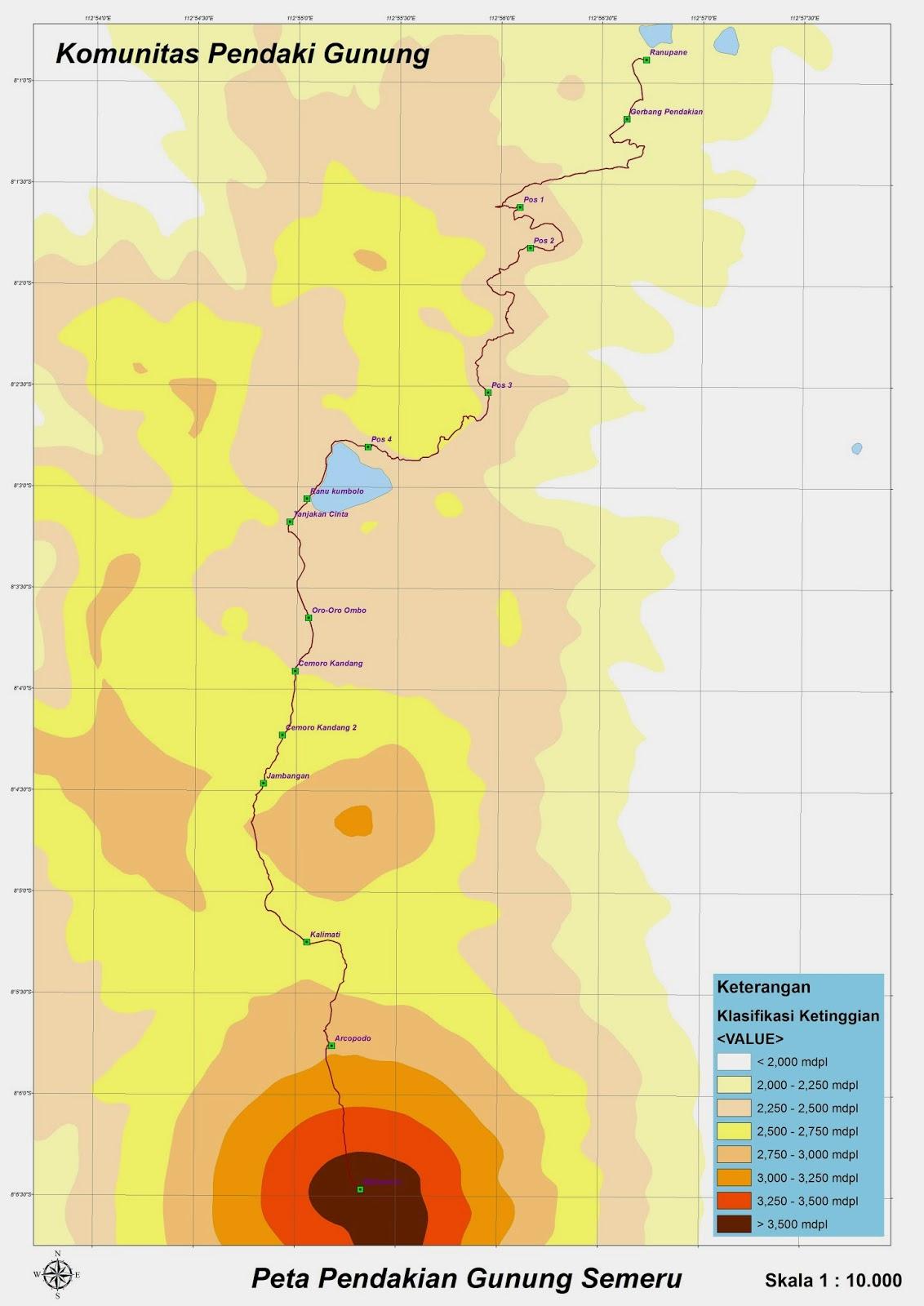 Peta Jalur Pendakian Gunung Semeru  Catatan Pendaki Gunung
