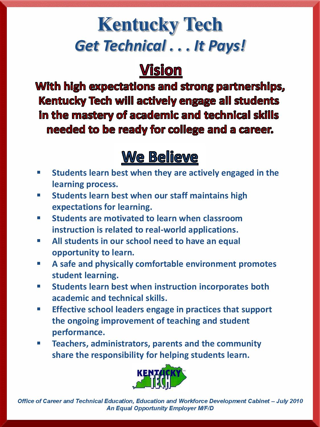 green county area technology center vision and belief statement