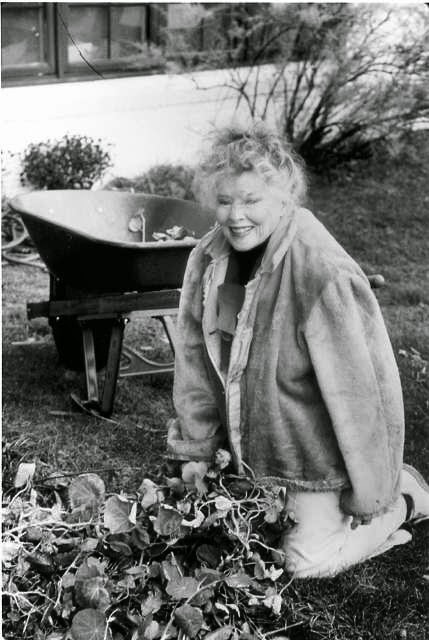 Katharine working in her yard later in life.