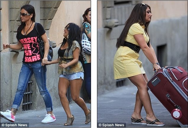 is the jersey shore cast in italy. Jersey Shore cast touch down