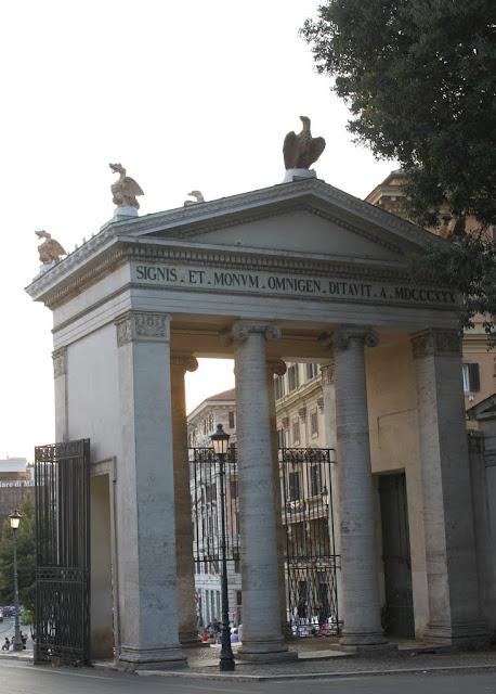 The main entrance of gateway of Villa Borghese near to Piazza del Popolo in Rome, Italy