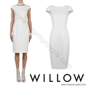 Crown Princess Mary Style WILLOW Jacquard Stretch and Leather Dress and CHRISTIAN LOUBOUTIN Pumps