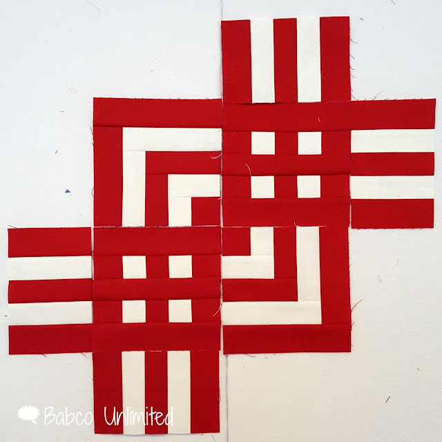 BabcoUnlimited.blogspot.com -- Red & White Quilt Sample, 2 color quilt, Modern Quilts