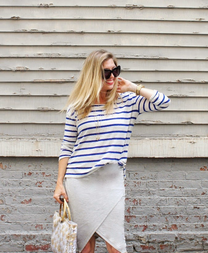 wrap skirt, stripe tee, shark tooth necklace, boston style blog
