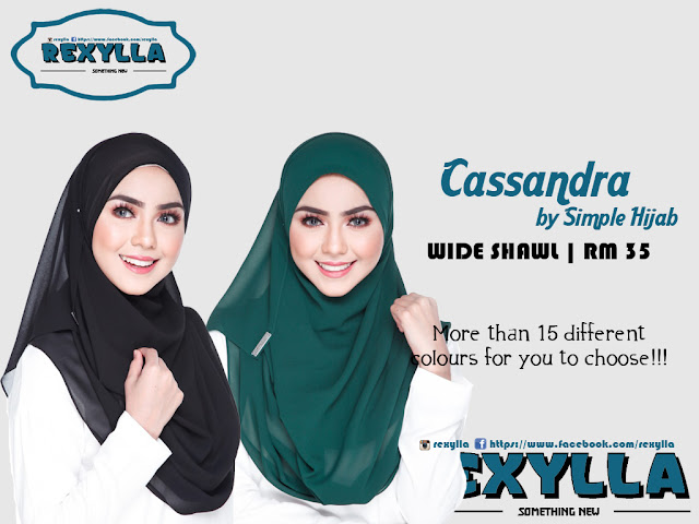 rexylla, simple hijab, wide shawl, cassandra collection