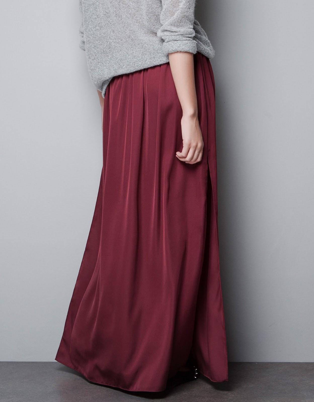 zara sold out maxi skirt dress burgundy wine