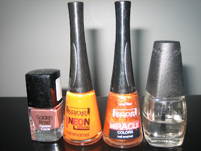 golden rose fashion color, kone helsinki neon and miracle, wild and crazy, nail polishes used
