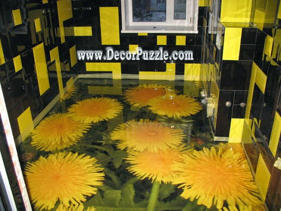 unique 3d bathroom floor murals designs, self-leveling floors for bathroom flooring ideas
