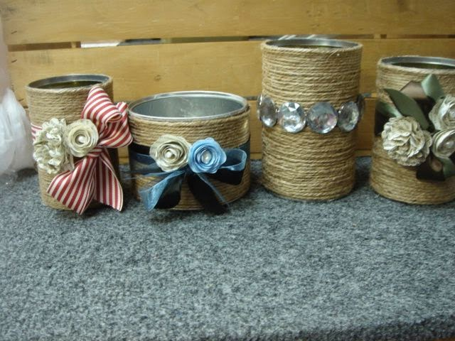 Artesanato, craft, latas, sisal