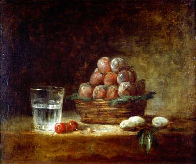 Jean-Baptiste Siméon CHARDIN - Panier de prunes et verre d'eau
