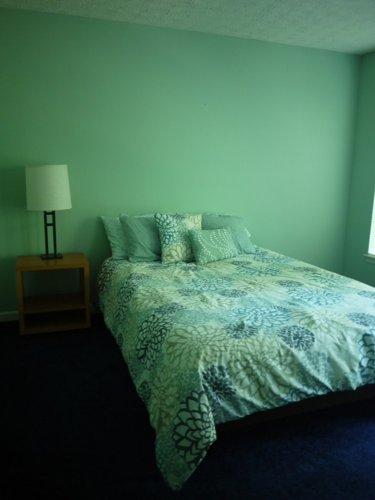 together the mint green of the walls with the dark blue of the carpet