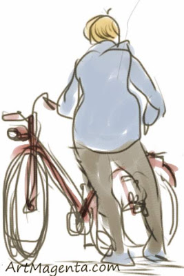 Flat tire is a gesture drawing finger painted on an iphone by artist and illustrator Artmagenta