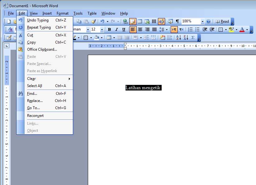 Microsoft Word Menu Bar