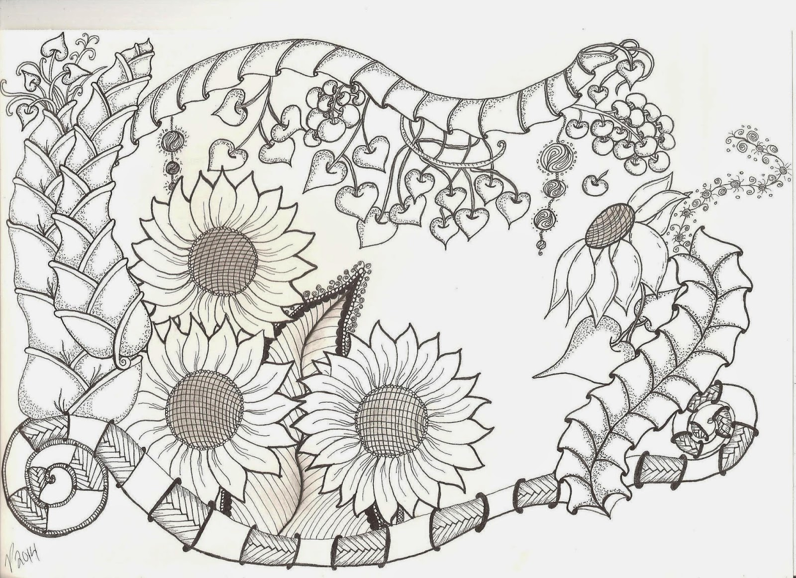 fantasy garden, ZIA, Zentangle inspired art
