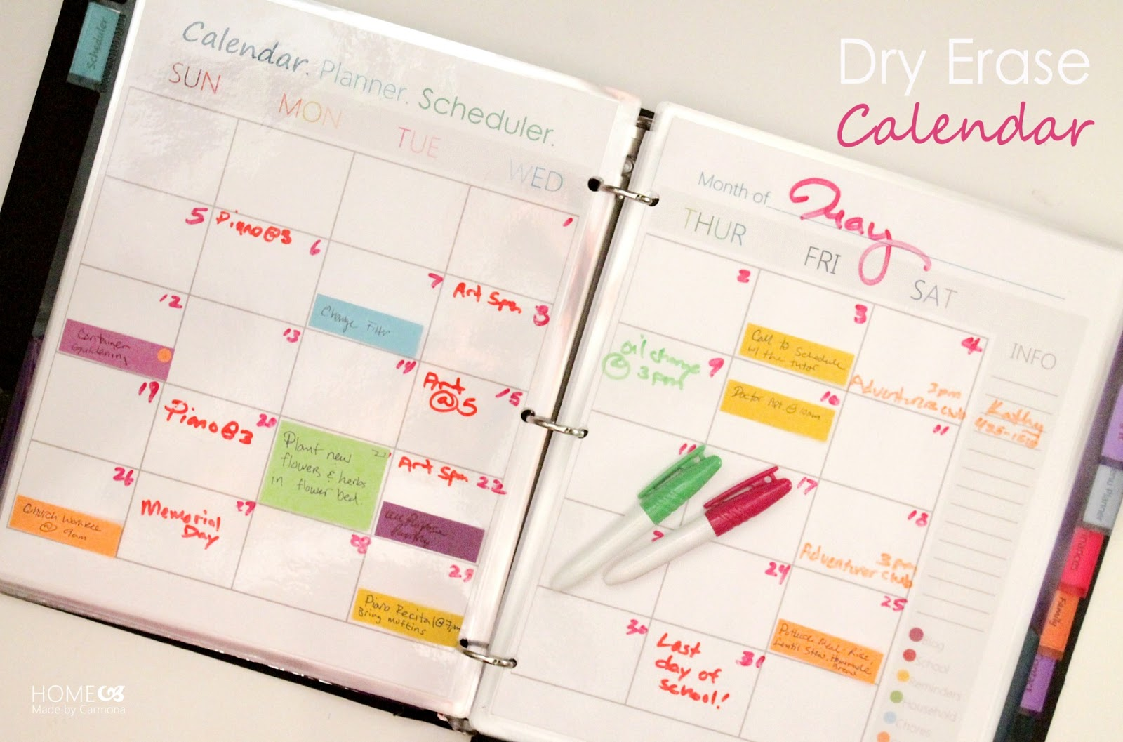 Calendar Planner Scheduling : Dry erase calendar home made by carmona