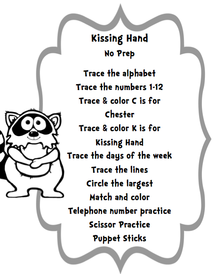 This is an image of Critical Kissing Hand Printable
