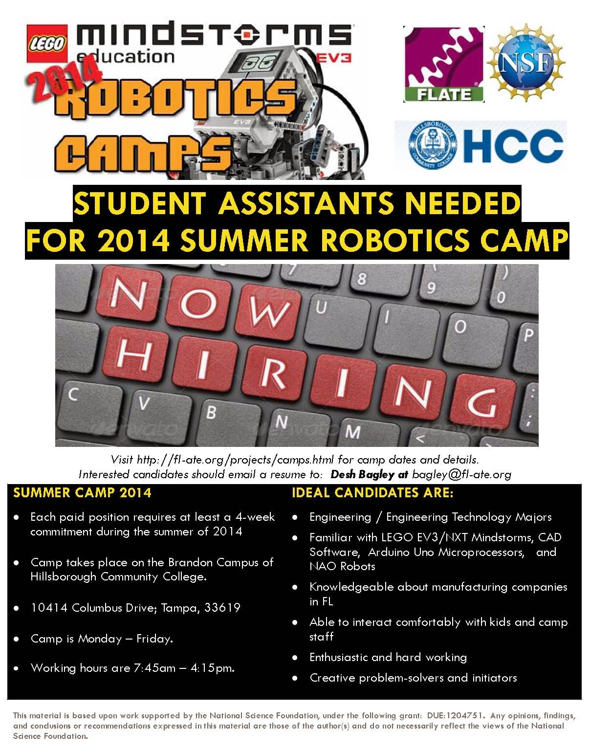Student Assistants Needed for Robotics Camps