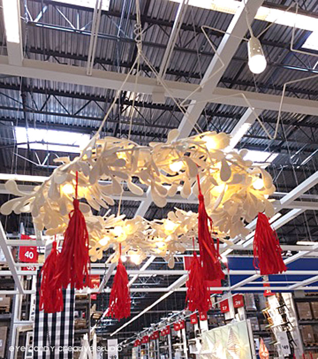 white wreath, hanging wreath at IKEA, red tassels, christmas decor