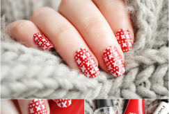 Red Nails Art with White Cross and Dots