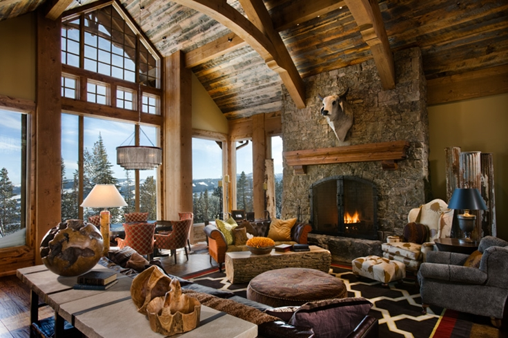 30 rustic chalet interior design ideas architecture for Rustic living room interior design