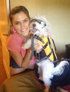 Corkie (Now Ollie) gets ready for his first motor boat ride