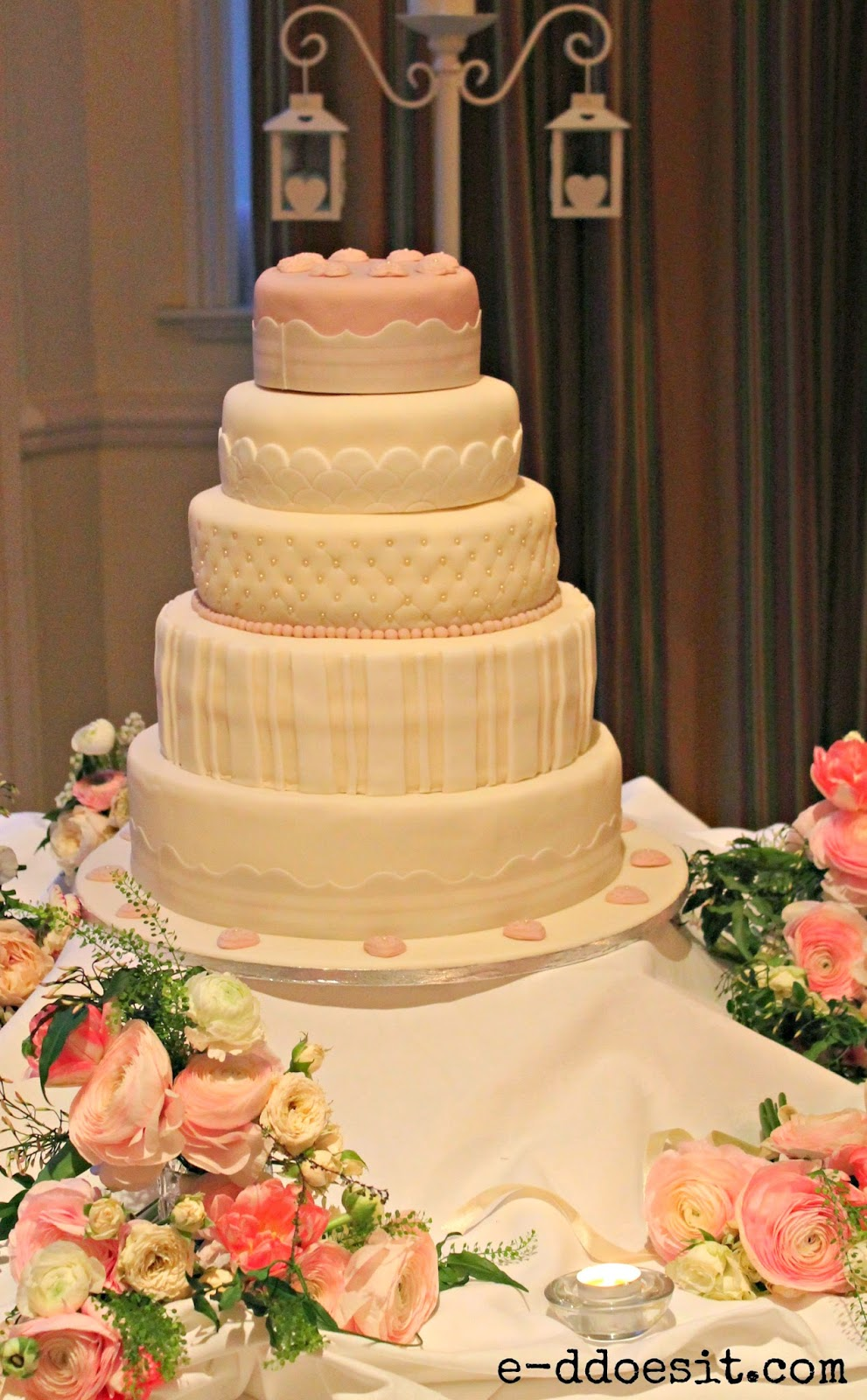 E-D Does It: Pink & Ivory Vintage Wedding Cake