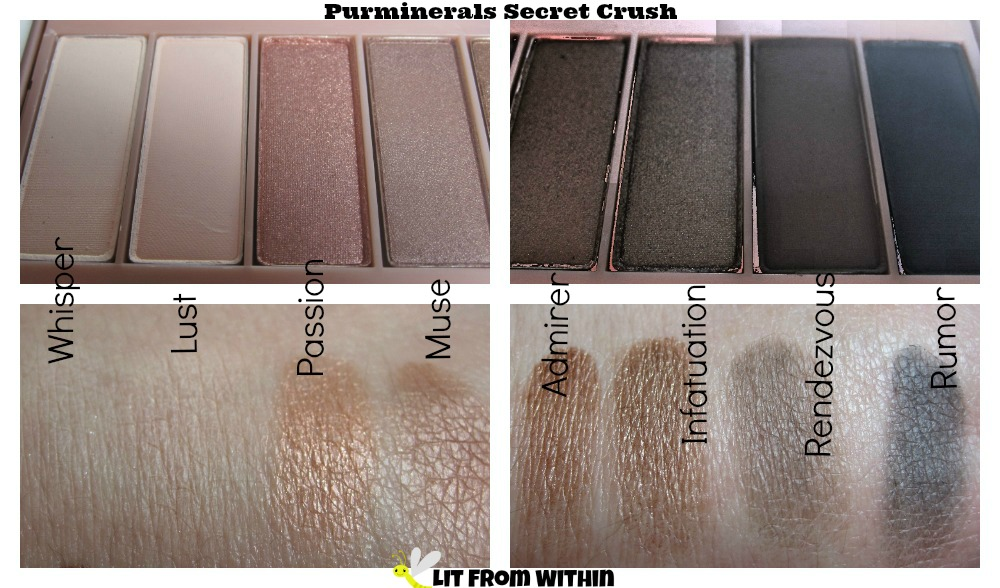 Pur Secret Crush palette swatches