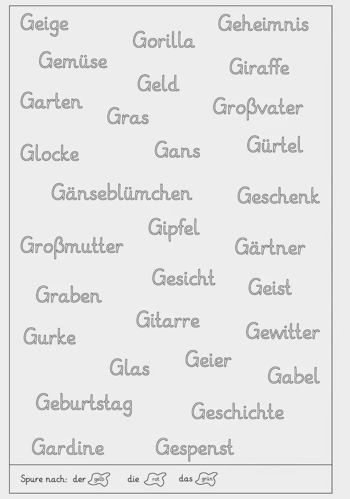 Arbeitsblatt Nomen Begleiter : Lernstübchen nomen und ihre begleiter