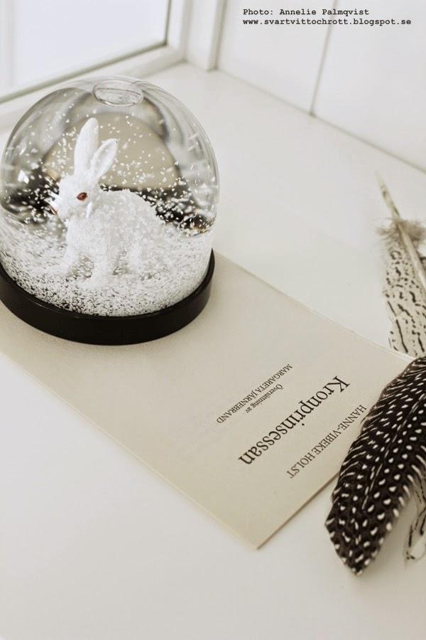 snöboll, kanin, dekoration, inredning, svart och vitt, fjädrar, inspiration, blogg,