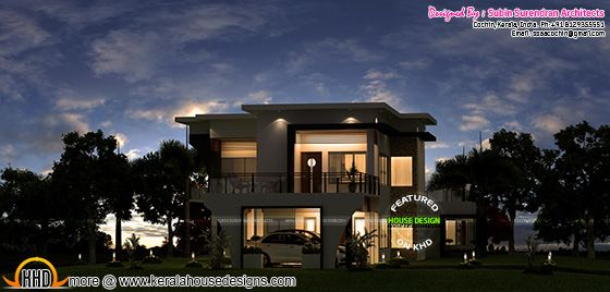 Beautiful modern house in night view