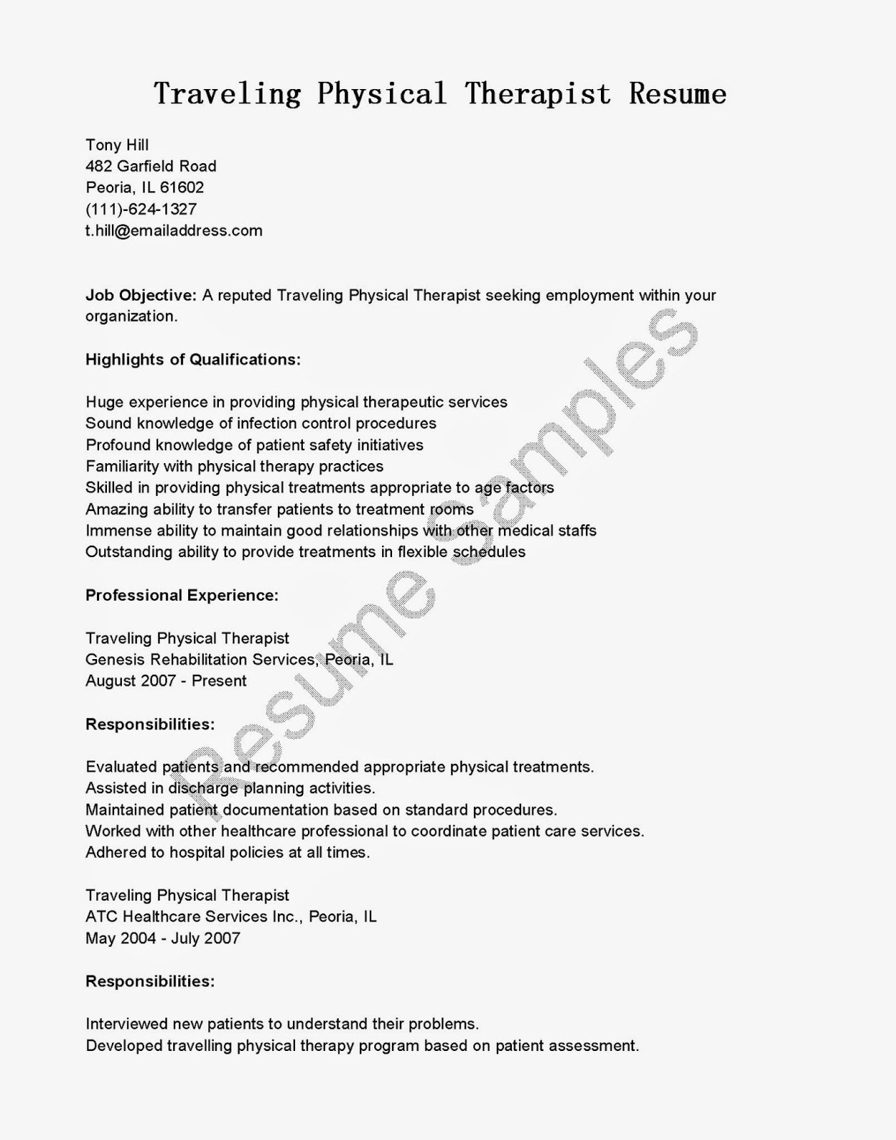 physical therapist resume template