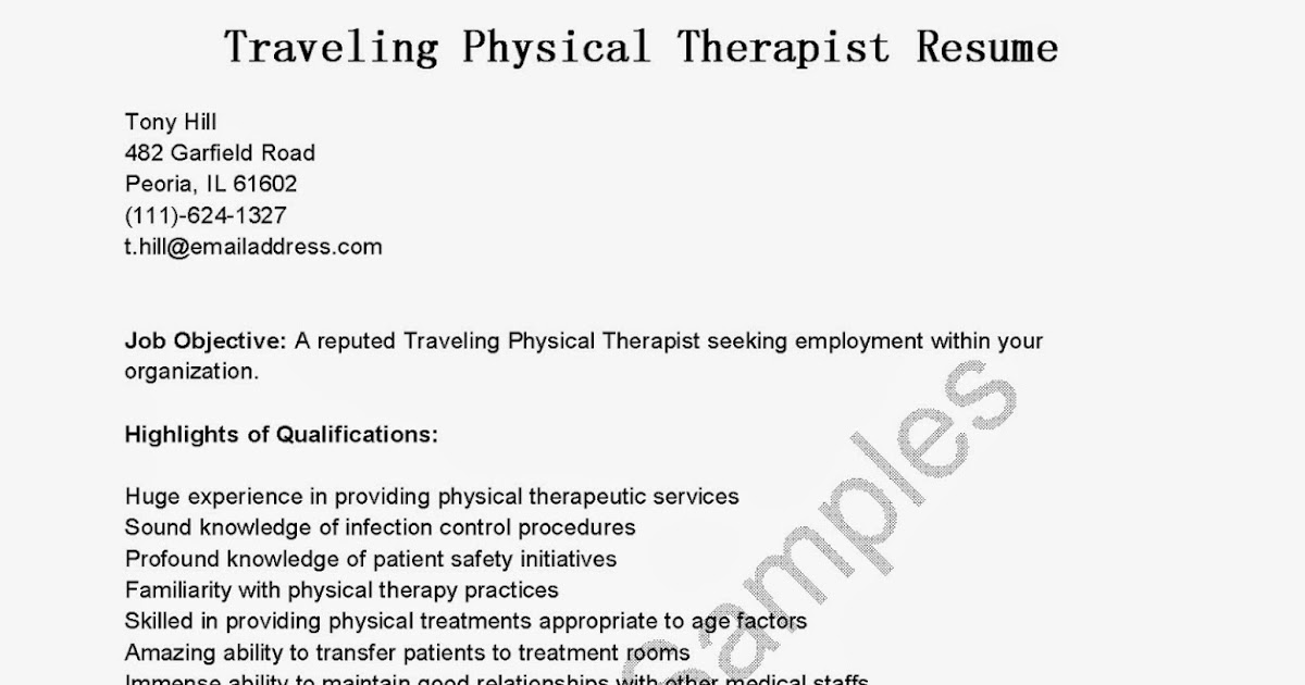 resume samples  traveling physical therapist resume