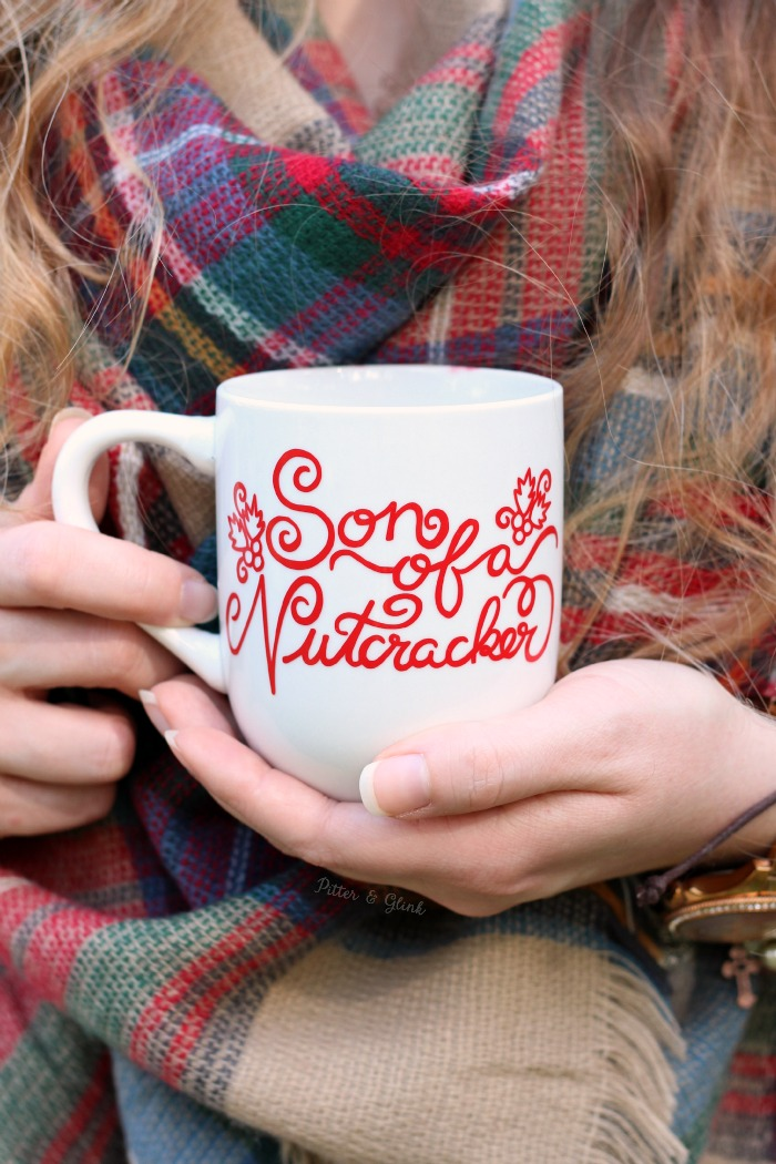 DIY Hand-Lettered Elf-Inspired Christmas Mug with Free Silhouette Cut File. www.pitterandglink.com