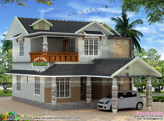 sloping roof home design by bari max kerala home design modern mix sloped roof home kerala home design and floor