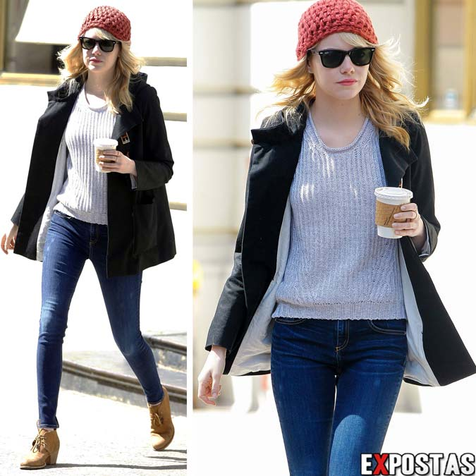 Fotos de Emma Stone de calça jeans e gorro no set de 'The Amazing Spider-Man 2' em New York