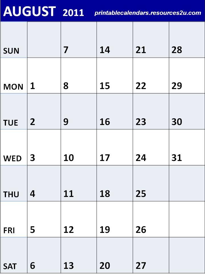 calendars blank calendars planners for 2011 calendars printable ...
