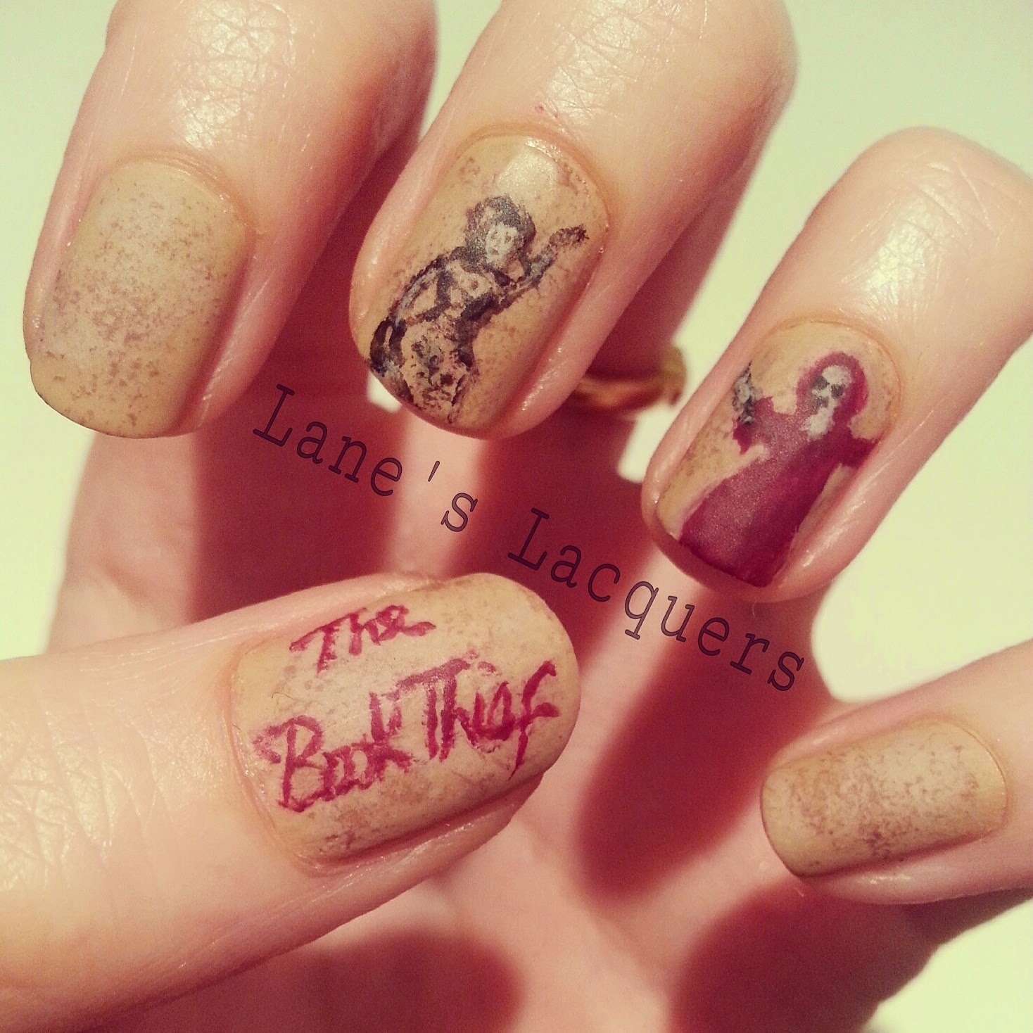 52wpnmc-brown-books-the-book-thief-nail-art