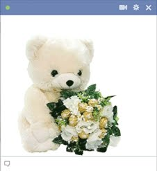 Teddy bear with a flower bouquet