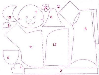 boneco bebê em tecido com molde e PAP (DIY)