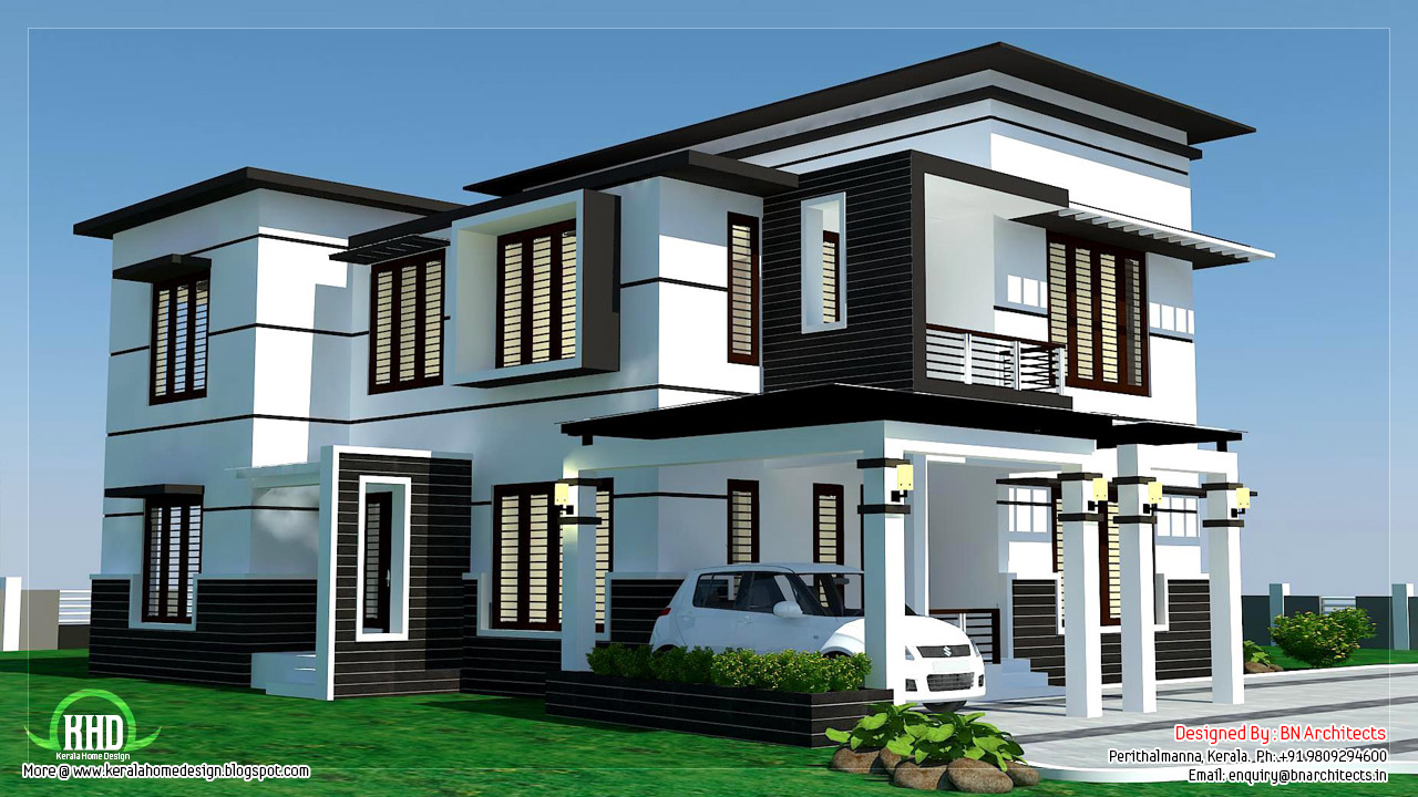 2500 4 bedroom modern home design kerala house for Modern villa house design