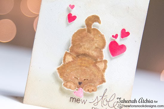Kitty Valentine card by Taheerah Atchia for Newton's Nook Designs.
