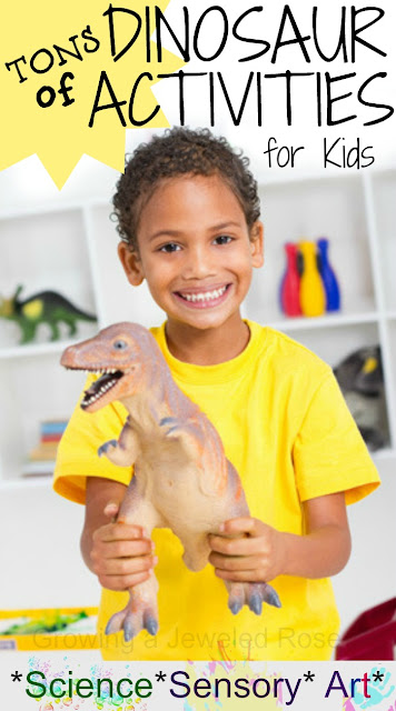 Tons of Dinosaur Activities for Kids- crafts, small worlds, science experiments, magic hatching dinosaur eggs, and MORE!